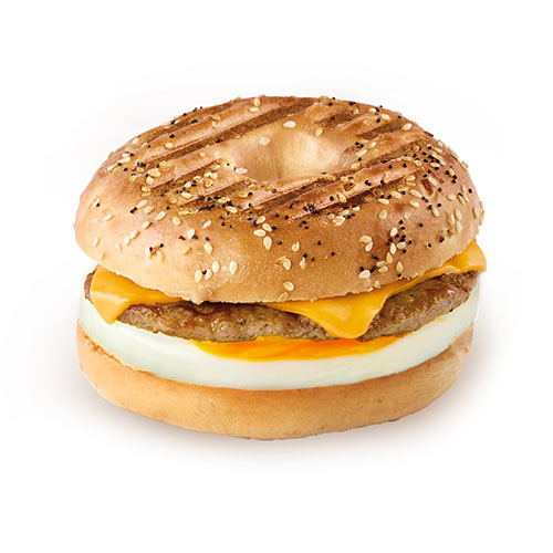 Grilled Bagel Breakfast Sandwich with Sausage